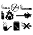Smoking icons in black color vector image