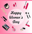 happy womans day card of icons vector image