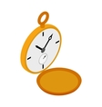 Golden pocket watch icon isometric 3d style vector image