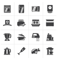 Black kitchen appliances and equipment icons vector image