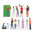 bloggers streaming online set cameraman soundman vector image vector image
