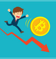 businessman running on graphs are sad at the vector image vector image