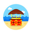 cafe bar bungalows on the beach icon vacation vector image vector image