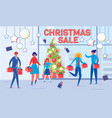 cartoon people near decorated store window in mall vector image