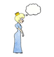 cartoon princess with thought bubble vector image