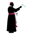 catholic bishop sprinkling holy water vector image