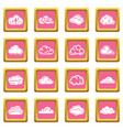 cloud icons set pink square vector image vector image