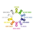 colorful awareness ribbons isolated over white vector image vector image