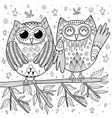 couple funny owls sitting on branch vector image vector image
