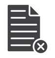 delete document glyph icon web and mobile vector image vector image