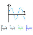 dotted sine plot flat icon vector image vector image