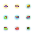 Dwelling icons set pop-art style vector image vector image