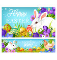 easter christian holiday greetings eggs and bunny vector image