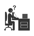Flat phone people office icon isolated on white vector image vector image