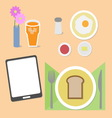 Food and brain breakfast set vector image