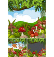 forest scenes with deers and board vector image vector image