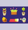 garden landscape design elements set tulips vector image