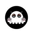 grumpy cat in ghost costume sticker halloween vector image