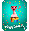 Happy birthday card jumps out of cake vector image vector image