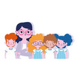 happy teachers day female teacher and little vector image vector image
