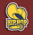 hip hop sticker design with baseball hat snapback vector image
