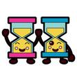 kawaii pair hour glass business cartoon vector image
