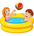 little girl and boy playing in an inflatable pool vector image vector image