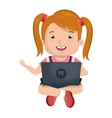 little kid online with laptop vector image