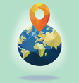 low polygon gps on earth vector image vector image