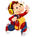 monkey character going to school vector image