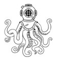 octopus and old diver helmet coloring vector image vector image