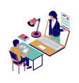 online job interview flat isometric vector image vector image
