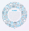 payment concept in circle with thin line icons vector image vector image