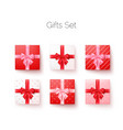 realistic set gift boxes with silk bows top vector image vector image