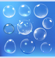 realistic soap bubble on blue background vector image