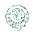 Scottish wildcat head celtic belt drawing