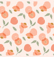 seamless pattern with peaches trendy hand drawn vector image vector image
