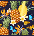 seamless pattern with pineapple fruits vector image vector image