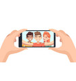 selfie on phone hands hold smartphone male vector image