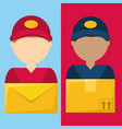 set couriers delivery service to giving out vector image vector image