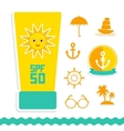 Set of summer vacation beach Umbrella sun ship vector image