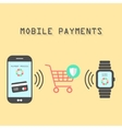 smartphone and watches with mobile payments vector image vector image