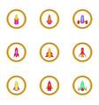 spacecraft icons set cartoon style vector image