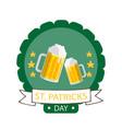 st patrick s day ribbon beer mug circle frame back vector image