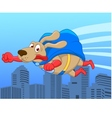 Super dog flying over city vector image vector image