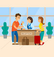 travels near reception check into hotel vector image vector image