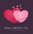 two hearts hugging each other vector image