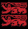viking scandinavian design two scandinavian lions vector image vector image