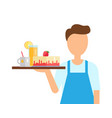 waiter holding tray with drinks and cake vector image
