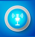 white microphone icon isolated on blue background vector image vector image